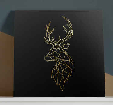 An origami deer canvas art print on solid black background. . Made of top quality material, durable, resistant to fading and light reflection.