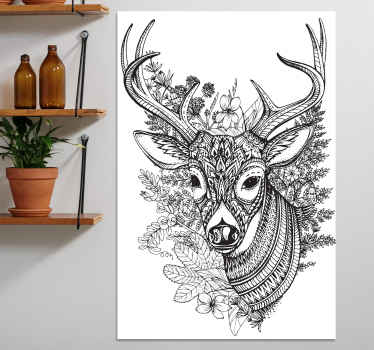 Creative animal canvas art hosting the drawing illustration of a deer's head with flower.  The canvas is original, easy to hand and durable.