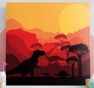 An amazing landscape with dinosaurs canvas.  The canvas design illustrates different dinosaurs on a natural forest and the landscape covered in sunset.