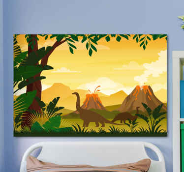 A beautiful  and colorful nature landscape canvas with dinosaurs. The canvas design illustrate different dinosaurs walking freely on a beautiful park.