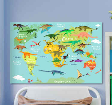 A fantastic world map with dinosaur canvas for home decoration. It can be decorated on your kid's room and for any room in a house.