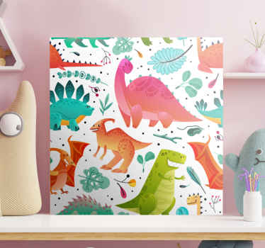 Different colour dinosaur illustration canvas art for children. You can decorate the room of your kid with this canvas and he would be happy with you.