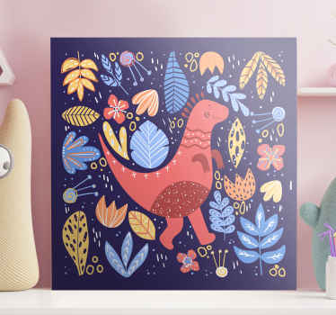 Cartoon childish dinosaurs canvas prints to decorate the room of your kid. It is original, durable and really easy to hang on a wall.