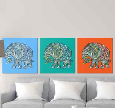 Kokoelma erilaisia elefanttipohjaisia kangasjulisteita, jotka kaunistavat kotiisi ripaus eettistä taidetta. Se on kestävä ja valmis ripustettavaksi.