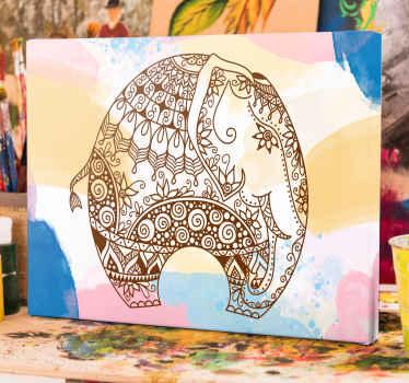 Adorabile mandala ornamentale con ritratto di elefante su tela con sfondo color acqua splash. è originale, facile da appendere e resistente.