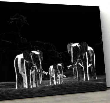 Un'incredibile stampa murale su tela di animali grigi che presenta un branco di elefanti in uno stile geometrico trasparente vetroso.