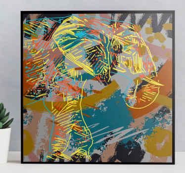 Decora il tuo spazio rappresentando il tuo amore per l'arte astratta con questa tela di elefanti 3d spruzzata d'acqua. è originale.