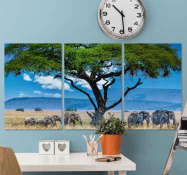 Norsu-kangas, jossa on upea kuva savannan yli kulkevasta norsukarjasta. Korkealaatuisia materiaaleja.