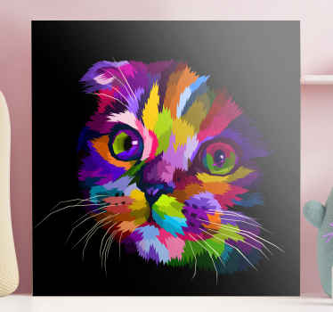 さまざまな鮮やかな色で彩られた猫の顔の愛らしいイメージが特徴の猫の帆布プリント。さまざまなサイズでご利用いただけます。