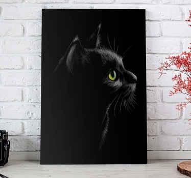 遠くを見つめる明るい緑色の目を持つ黒猫の印象的なイメージを特徴とする猫のキャンバスプリント。高品質。