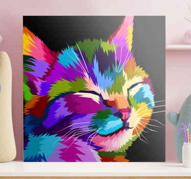 さまざまな色で描かれた猫の愛らしいイメージが特徴の猫のキャンバスプリント。 10%オフにサインアップしてください。高品質。