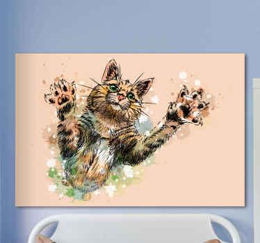 ペンキのはねに囲まれ、手を差し伸べる猫の見事なイメージを特徴とする猫のキャンバスの壁のアート。高品質の素材。