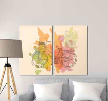 A bicycle with flowers retro canvas art. Perfect for any space in a house and for an office to add a vintage touch on a space.