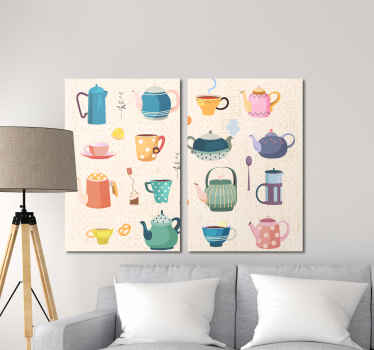 Double canvas wall art for kitchen containing carious designs illustrating kitchen pots and jugs for tea.  It is durable and printed in quality finish.