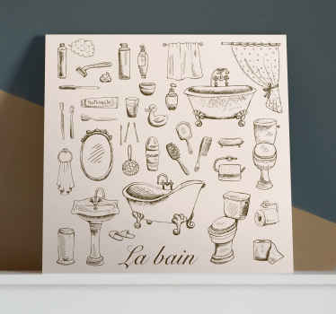 Lovely bathroom canvas art that you can hang nicely on the wall of a bathroom. It design contains various illustrations of bathroom and toilet  items.