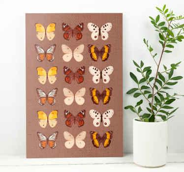 En konst för tappningfjärilar mönstrar kanfas för älskare av fjärilar. Perfekt för alla utrymmen i ett hus och för ett kontor och en affärsplats.