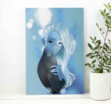 Cuadro artístico con el diseño de una bella mujer azul de pelo blanco sobre fondo azul con destellos de luces, perfecto para decorar tu hogar.