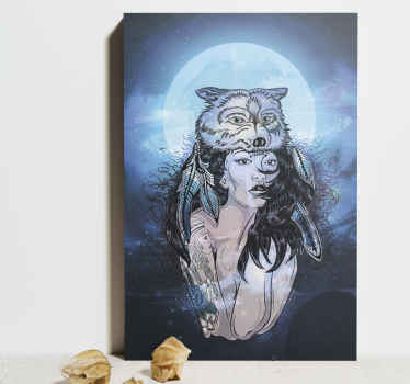 Home canvas print with the illustration of a woman with the image of a wolf, in the middle of a blue night in a forest, perfect  to decorate your home.