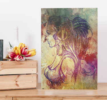 Canvas art with the illustration of a girl with long hair full of many colors and with an abstract style, ideal for you to decorate your home.