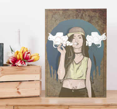 This cool, hippy smoking girl canvas print is a piece of art that will fit well on any wall of your home. Perfect as a gift! Home delivery available.