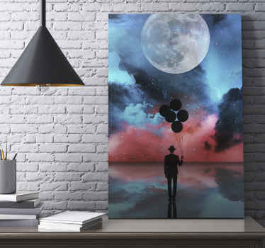 Vintage universe canvas art to decorate any space with a soothing calm presence. The canvas illustrates a man walking in space with floating balloons.