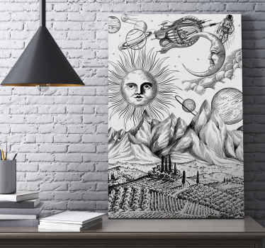 Great universe collage canvas art prints in black and white background texture. The canvas host illustrations of space, asteroids, crescent moon,etc.