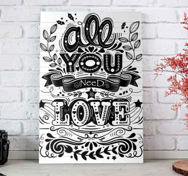All you need is love, quadro dalla nostra raccolta di stampe su tela con citazione di motivazione. Il design del testo ha uno stile artistico.
