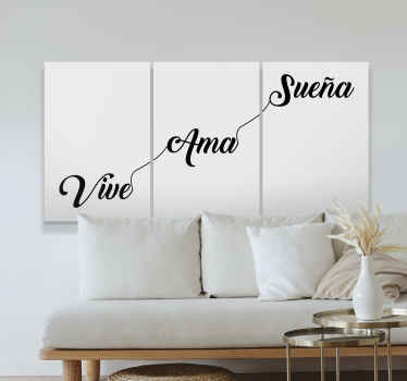 """Cuadro cabecero cama con la frase """"vivir, amar y soñar"""" en tríptico para que decores tu habitación de forma bonita y llena de positividad."""