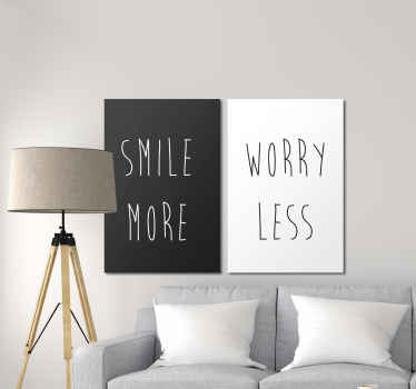 Smile more, worry less motivational quote canvas print - This quote would always remind you to leave you worries behind and use more of your smile.