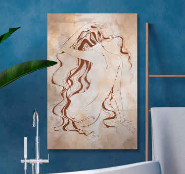 Bathroom wall canvas displaying drawing art of a sexy woman.  The design texture depicts a vintage style, printed in quality finish and durable.