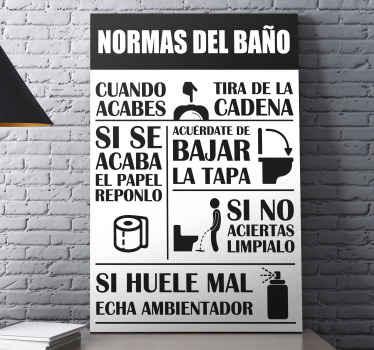 ¿Necesitas introducir algunas reglas en tu baño? Bueno, tenemos este cuadro frases impreso sobre las reglas del baño para ti ¡Envío exprés!