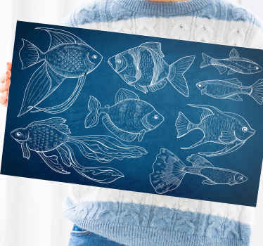 Simple bathroom canvas art design representing different marine fishes. The background is made in dark blue depicting deep sea colour.
