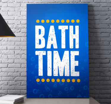 Beautiful blue canvas art for bathroom. It design is a text that reads ''Bath time'. Suitable bathroom canvas art for hotels and  home bathroom.