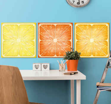 Different canvas with sliced citrus fruit illustration. The designed canvas appears realistic and you would love it. Printed in quality finish.