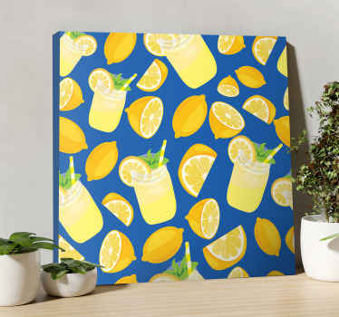 Gyönyörű citromlé gyümölcs vászon művészeti nyomtatás - vászon, amely új megjelenést kölcsönöz a térnek, különféle gyümölcslevekkel és szeletelt citrusokkal figyelve.