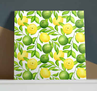 Lemons and Limes fruit canvas art - Amazing citrus fruit canvas print with leaves and stalk from tree. It is original, durable nd easy to hang.