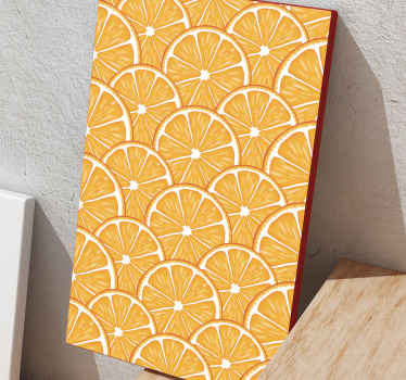 Sliced patterned orange fruit canvas to decorate your kitchen, home or office space giving it a fruity attention. Made with quality material.