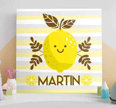 Refreshing and fun personalised wall canvas! It represents a smiling lemon with your chosen name/word underneath! Order now and have it delivered!