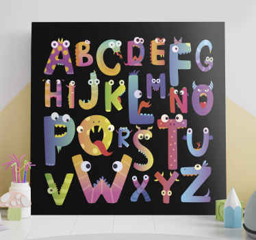 Colorful children alphabet canvas with funky illustrations - This can be decorated in the home, nursery space for both home and outdoor space.