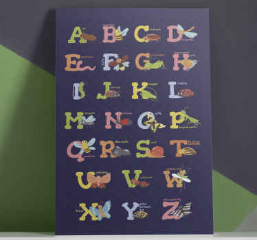 Pretty English alphabet canvas prints for children.  It illustrates the names of different insects with their letters and complete name.