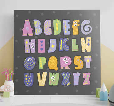 Aquí tenemos para usted un diseño especial de cuadro infantil con las letras del abecedario simulando monstruos de colores ¡Envío exprés!