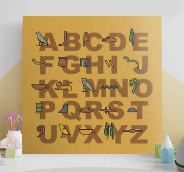 Here we have a quote canvas wall art that depict the egyptian alphabet on an orange background. Add it to your cart now!