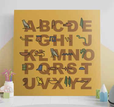 Her har vi et citat lærredskunst, der skildrer det egyptiske alfabet på en orange baggrund. Tilføj det til din kurv nu!