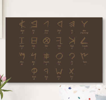 Deze geweldige canvas schilderij voor in de woonkamer toont het fenice-alfabet op een bruine achtergrond. Bestel hem vandaag nog!