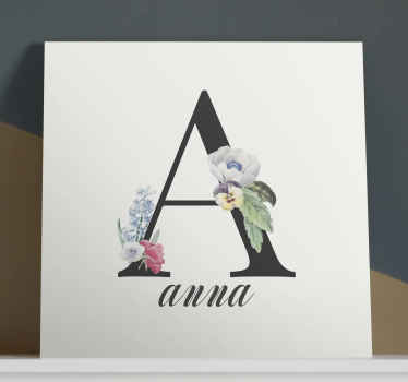 Add this quote canvas wall art to your cart to receive it in a few days! This design depicts the first letter of a personalised name with flowers.