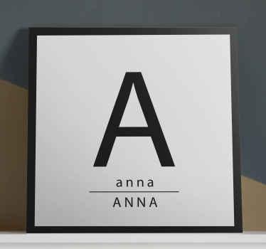 Aquí tenemos un increíble cuadro con nombre en mayúscula y minúscula y con inicial para decorar tu casa de forma personal ¡Envío exprés!