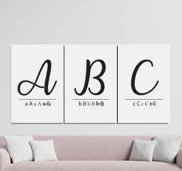 """Aquí tenemos un cuadro abecedario con las letras """"abc"""" en tríptico y con diferentes tipos de letra para decorar tu hogar de forma elegante"""