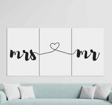 Lovey and elegant love lettering of Mr. and Mrs. canvas design inscribed and styled along three canvas. Made of quality and durable.