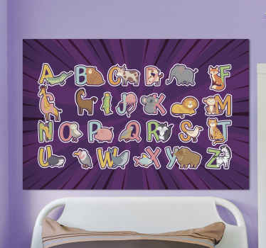 Otisci platna abecede i slova za djecu. Vrlo lijepo edukativno platno sa životinjama ilustrirano slovima u živopisnom maniru.