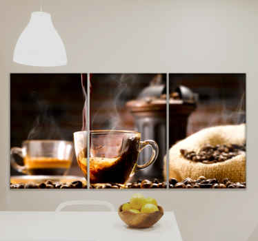 What more can a coffee lover love than to decorate the kitchen space with this amazing collection of illustrated coffee canvases.